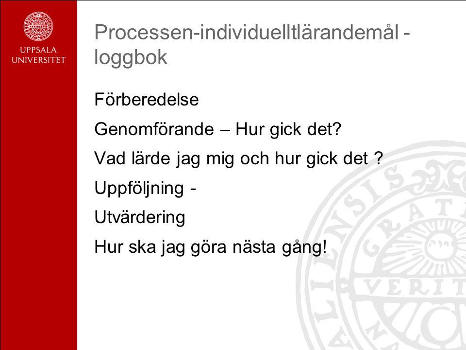 Processen-individuelltlärandemål - loggbok Förberedelse Genomförande – Hur gick det.
