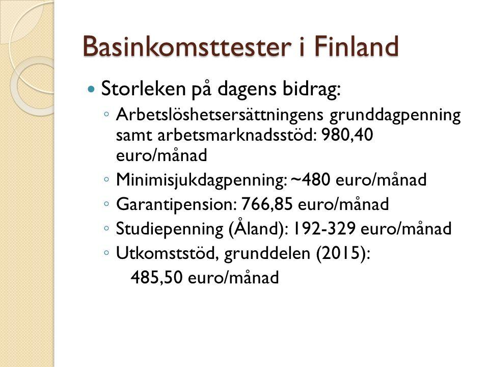 Basinkomsttester i Finland Storleken på dagens bidrag: ◦ Arbetslöshetsersättningens grunddagpenning samt arbetsmarknadsstöd: 980,40 euro/månad ◦ Minimisjukdagpenning: ~480 euro/månad ◦ Garantipension: 766,85 euro/månad ◦ Studiepenning (Åland): 192-329 euro/månad ◦ Utkomststöd, grunddelen (2015): 485,50 euro/månad