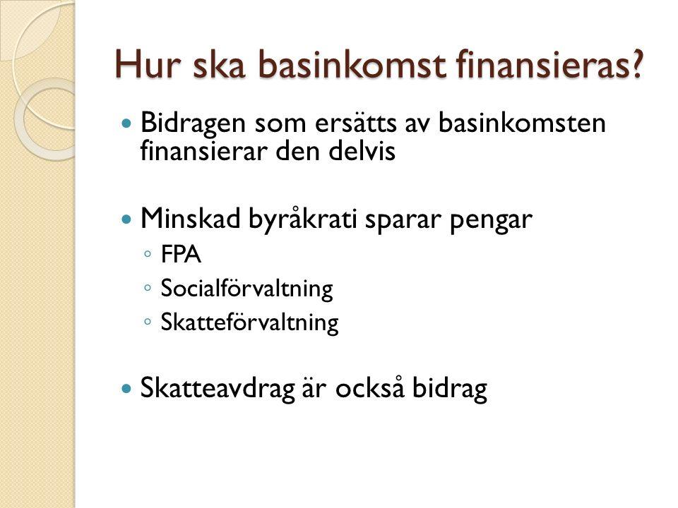 Sammanfattning Basinkomst tillfaller alla medborgare utan krav på motprestation Det finns många olika åsikter och tankar om basinkomstens belopp och genomförande Basinkomst är en idé som funnits länge Basinkomst har testats i flera länder med goda resultat I Finland utreds basinkomst och ett pilotförsök ska genomföras 2017-2018 Basinkomst har både anhängare och kritiker inom alla politiska läger
