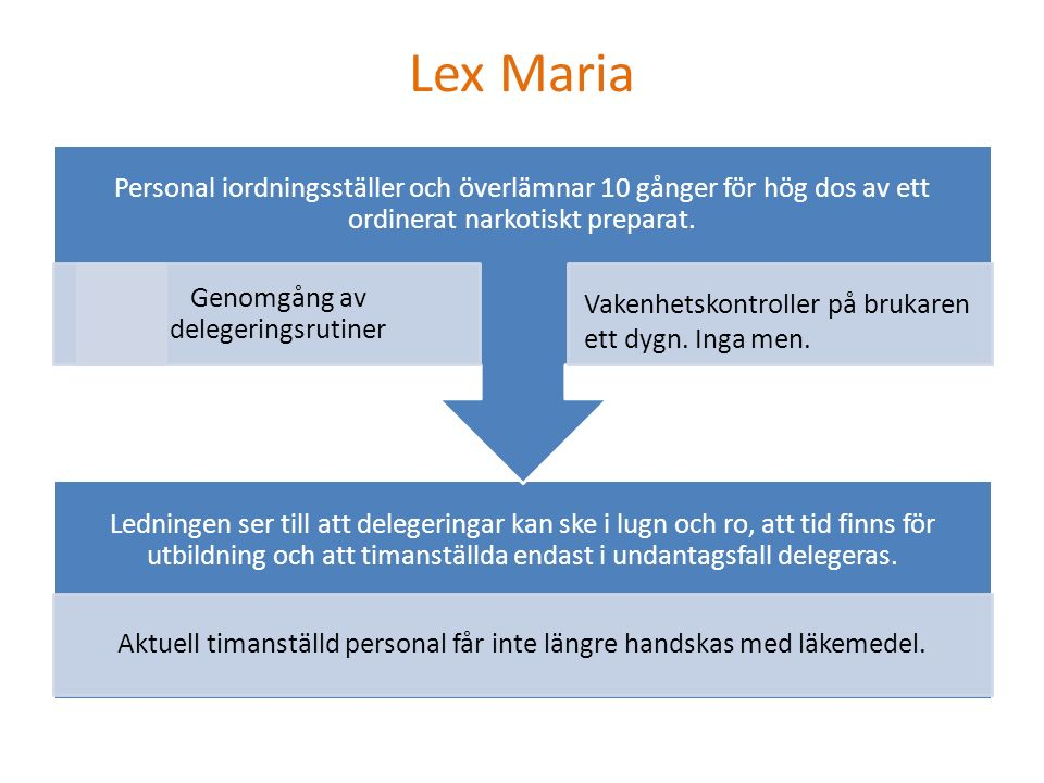 Lex Maria Ledningen ser till att delegeringar kan ske i lugn och ro, att tid finns för utbildning och att timanställda endast i undantagsfall delegeras.