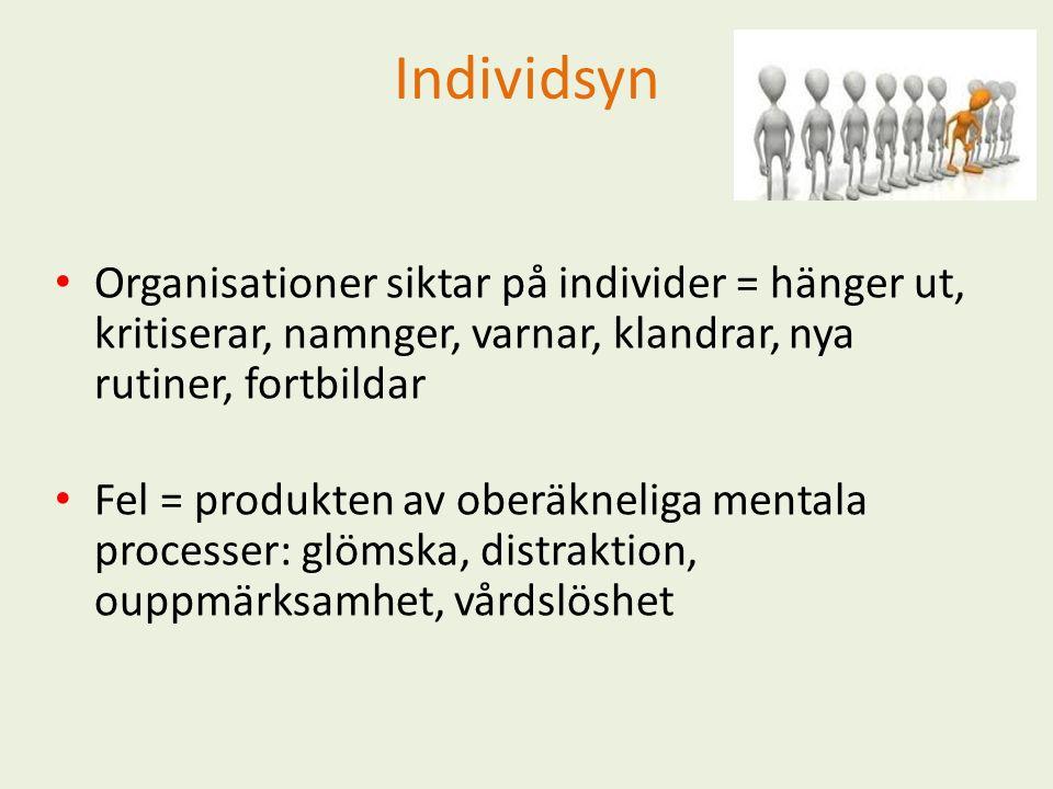 Individsyn Organisationer siktar på individer = hänger ut, kritiserar, namnger, varnar, klandrar, nya rutiner, fortbildar Fel = produkten av oberäkneliga mentala processer: glömska, distraktion, ouppmärksamhet, vårdslöshet