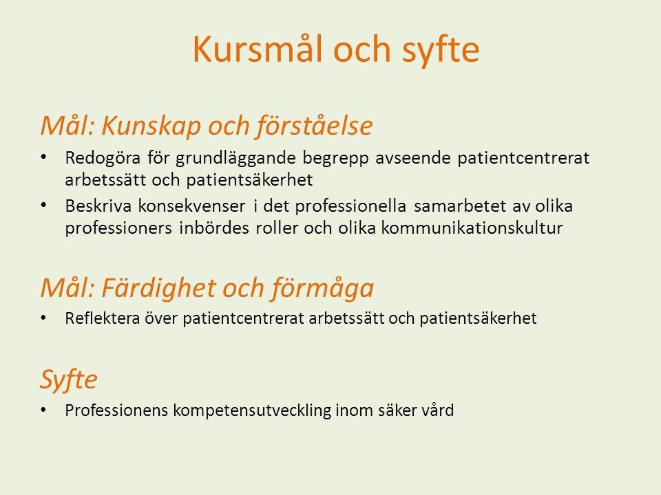 Kursmål och syfte Mål: Kunskap och förståelse Redogöra för grundläggande begrepp avseende patientcentrerat arbetssätt och patientsäkerhet Beskriva kon