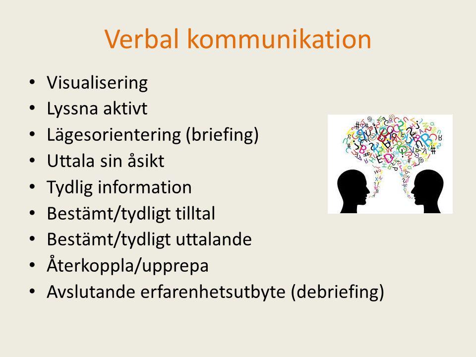 Verbal kommunikation Visualisering Lyssna aktivt Lägesorientering (briefing) Uttala sin åsikt Tydlig information Bestämt/tydligt tilltal Bestämt/tydligt uttalande Återkoppla/upprepa Avslutande erfarenhetsutbyte (debriefing)