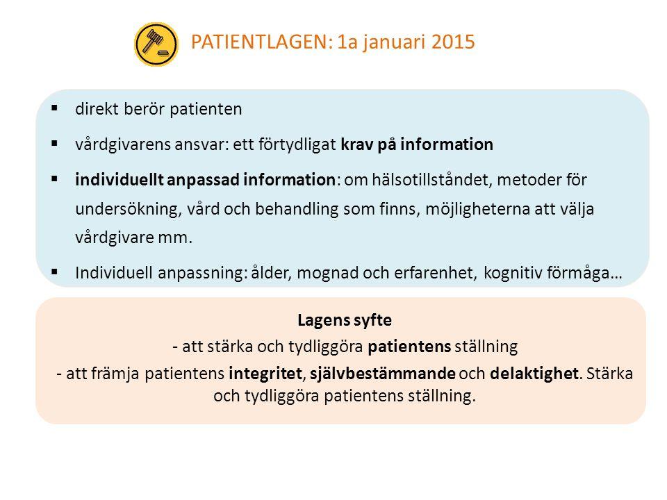 Lagens syfte - att stärka och tydliggöra patientens ställning - att främja patientens integritet, självbestämmande och delaktighet. Stärka och tydligg