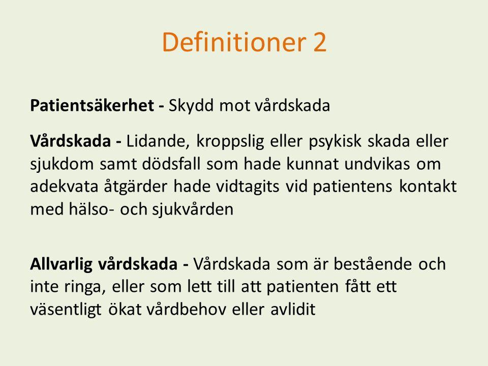 Definitioner 2 Patientsäkerhet - Skydd mot vårdskada Vårdskada - Lidande, kroppslig eller psykisk skada eller sjukdom samt dödsfall som hade kunnat un