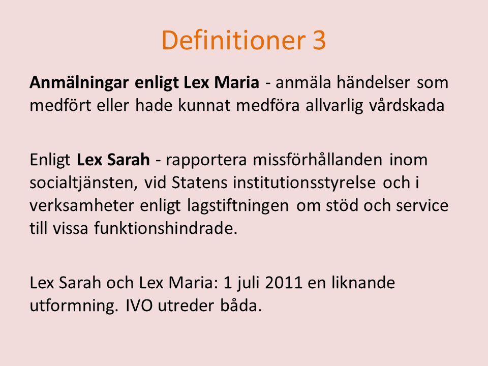 Definitioner 3 Anmälningar enligt Lex Maria - anmäla händelser som medfört eller hade kunnat medföra allvarlig vårdskada Enligt Lex Sarah - rapportera missförhållanden inom socialtjänsten, vid Statens institutionsstyrelse och i verksamheter enligt lagstiftningen om stöd och service till vissa funktionshindrade.