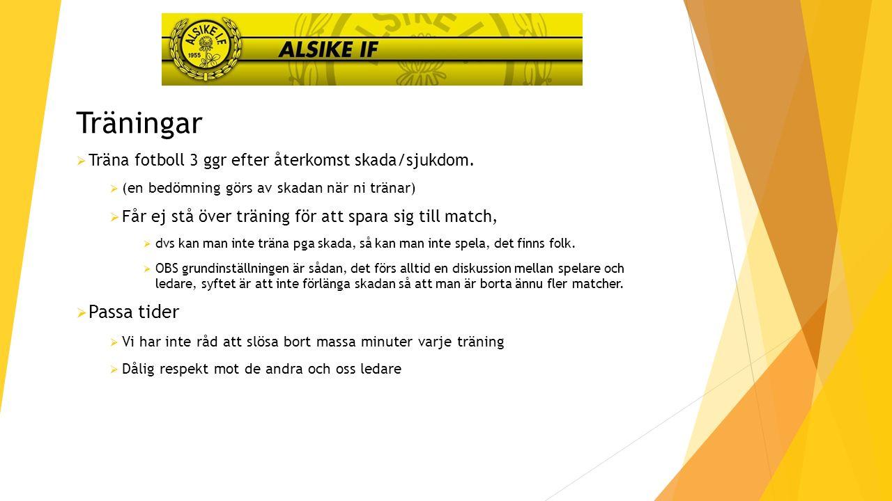 Träningar  Träna fotboll 3 ggr efter återkomst skada/sjukdom.
