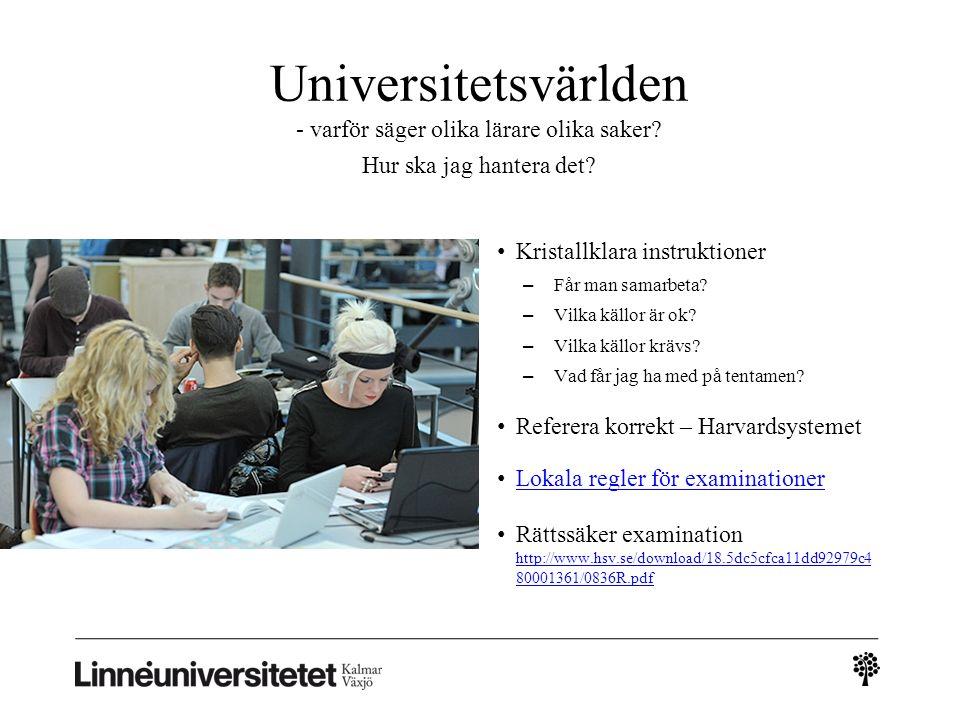 Universitetsvärlden - varför säger olika lärare olika saker.