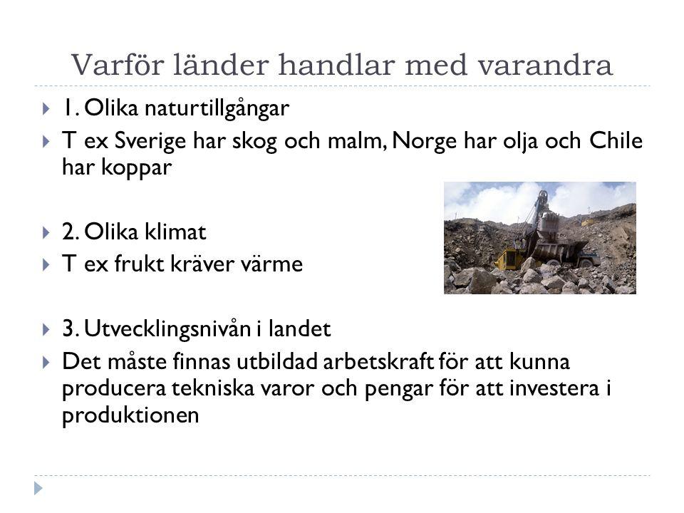Varför länder handlar med varandra  1. Olika naturtillgångar  T ex Sverige har skog och malm, Norge har olja och Chile har koppar  2. Olika klimat