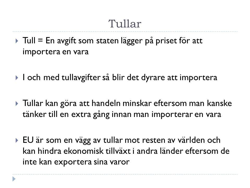 Tullar  Tull = En avgift som staten lägger på priset för att importera en vara  I och med tullavgifter så blir det dyrare att importera  Tullar kan