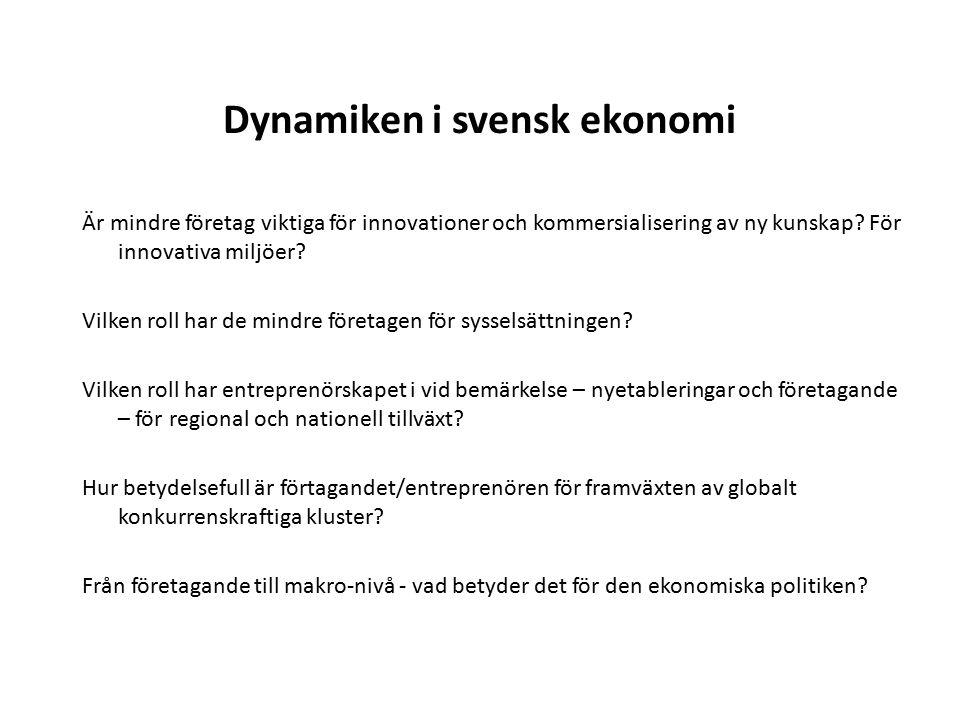 Dynamiken i svensk ekonomi Är mindre företag viktiga för innovationer och kommersialisering av ny kunskap.