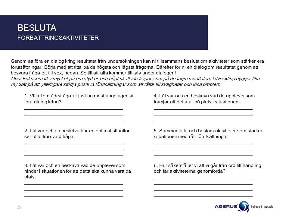 29 BESLUTA FÖRBÄTTRINGSAKTIVITETER Genom att föra en dialog kring resultatet från undersökningen kan ni tillsammans besluta om aktiviteter som stärker era förutsättningar.