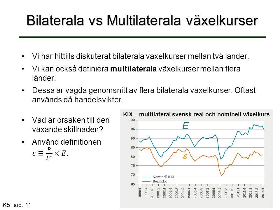 Bilaterala vs Multilaterala växelkurser Vi har hittills diskuterat bilaterala växelkurser mellan två länder.