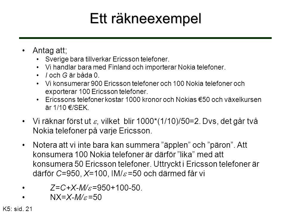 Ett räkneexempel Antag att; Sverige bara tillverkar Ericsson telefoner.