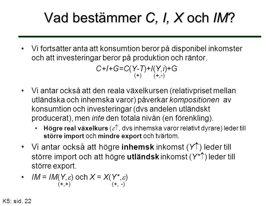 Vad bestämmer C, I, X och IM.