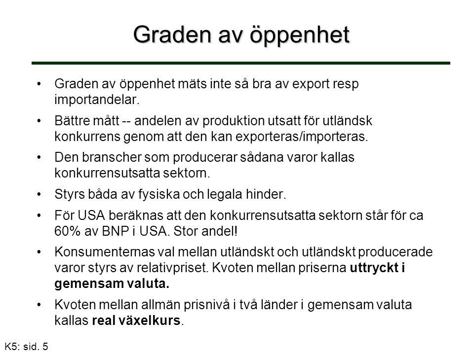 Graden av öppenhet Graden av öppenhet mäts inte så bra av export resp importandelar.