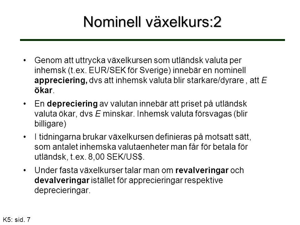 Nominell växelkurs:2 Genom att uttrycka växelkursen som utländsk valuta per inhemsk (t.ex.