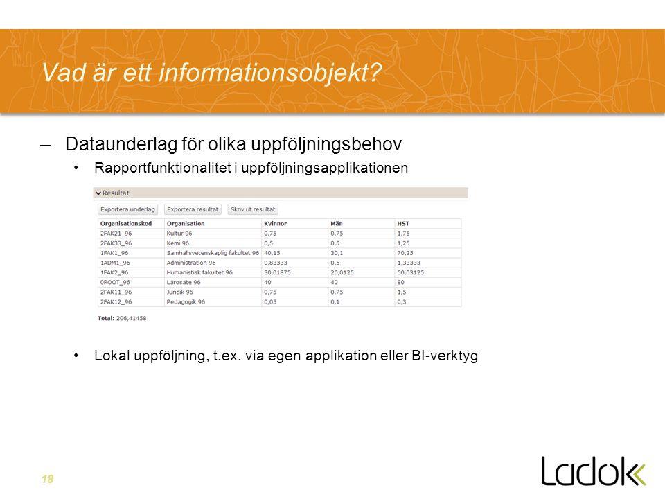 18 Vad är ett informationsobjekt? –Dataunderlag för olika uppföljningsbehov Rapportfunktionalitet i uppföljningsapplikationen Lokal uppföljning, t.ex.