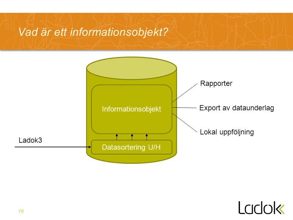 19 Vad är ett informationsobjekt? Informationsobjekt Rapporter Export av dataunderlag Lokal uppföljning Datasortering U/H Ladok3