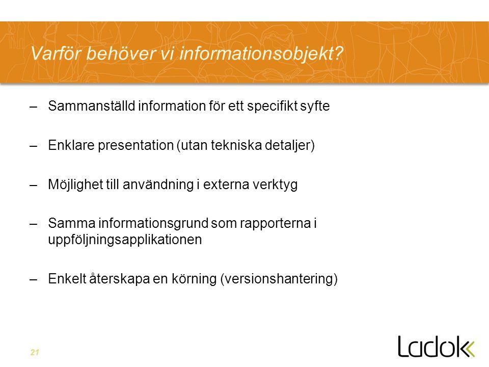21 Varför behöver vi informationsobjekt? –Sammanställd information för ett specifikt syfte –Enklare presentation (utan tekniska detaljer) –Möjlighet t