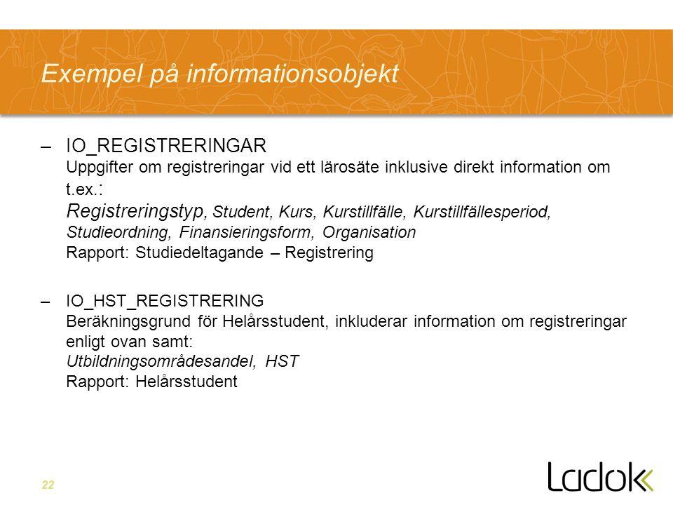 22 Exempel på informationsobjekt –IO_REGISTRERINGAR Uppgifter om registreringar vid ett lärosäte inklusive direkt information om t.ex. : Registrerings