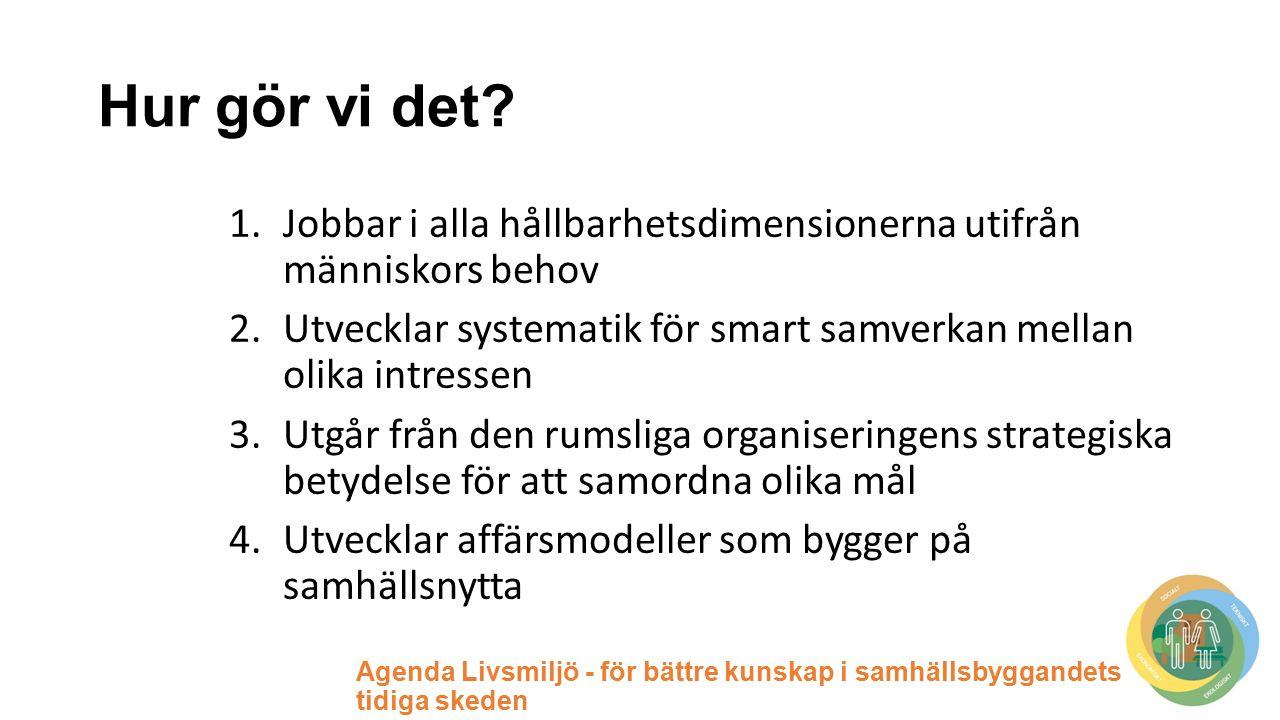 Agenda Livsmiljö - för bättre kunskap i samhällsbyggandets tidiga skeden Hur gör vi det.