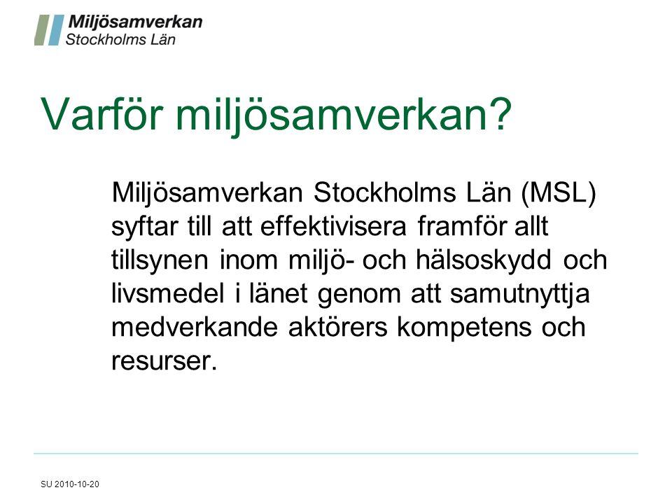 Varför miljösamverkan? Miljösamverkan Stockholms Län (MSL) syftar till att effektivisera framför allt tillsynen inom miljö- och hälsoskydd och livsmed