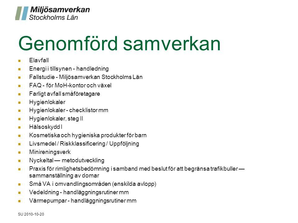Genomförd samverkan Elavfall Energi i tillsynen - handledning Fallstudie - Miljösamverkan Stockholms Län FAQ - för MoH-kontor och växel Farligt avfall