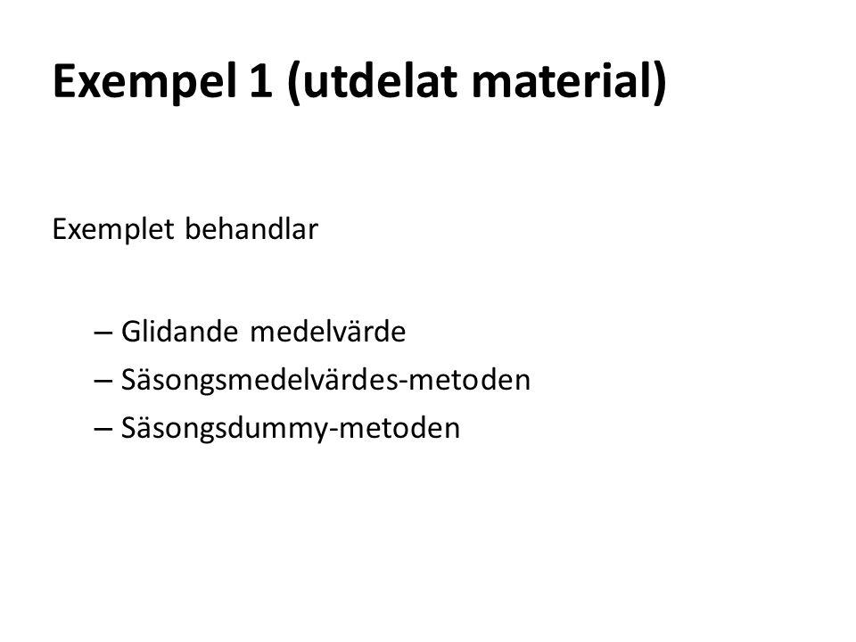 Exempel 1 (utdelat material) Exemplet behandlar – Glidande medelvärde – Säsongsmedelvärdes-metoden – Säsongsdummy-metoden
