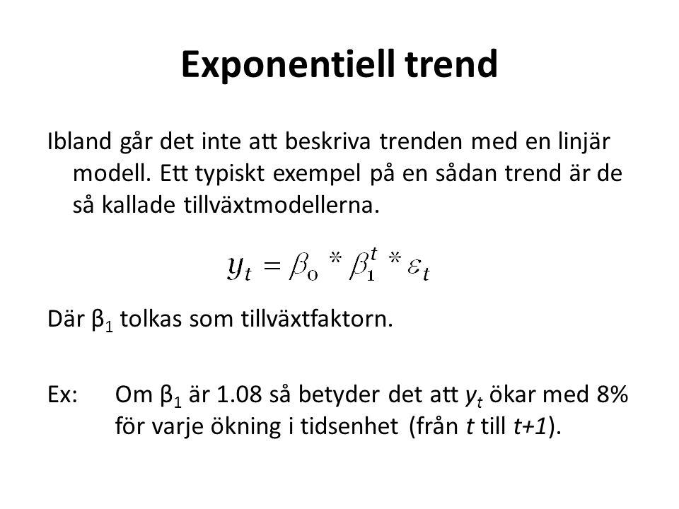 Exponentiell trend Ibland går det inte att beskriva trenden med en linjär modell.