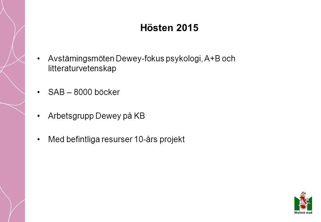 Hösten 2015 Avstämingsmöten Dewey-fokus psykologi, A+B och litteraturvetenskap SAB – 8000 böcker Arbetsgrupp Dewey på KB Med befintliga resurser 10-års projekt