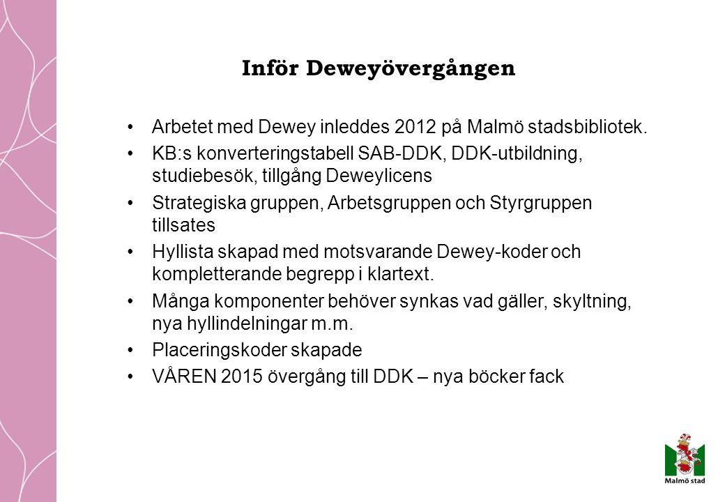 Inför Deweyövergången Arbetet med Dewey inleddes 2012 på Malmö stadsbibliotek.