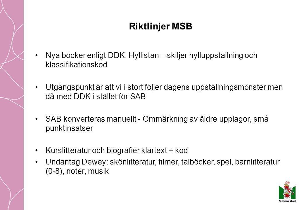 Riktlinjer MSB Nya böcker enligt DDK.