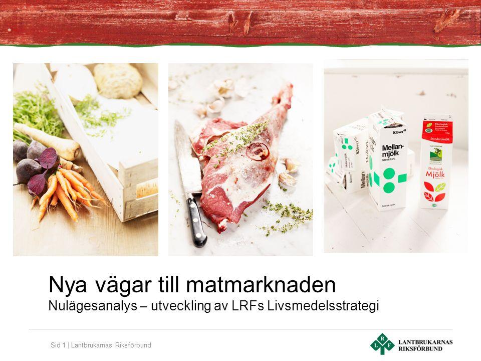 Sid 1 | Lantbrukarnas Riksförbund Nya vägar till matmarknaden Nulägesanalys – utveckling av LRFs Livsmedelsstrategi