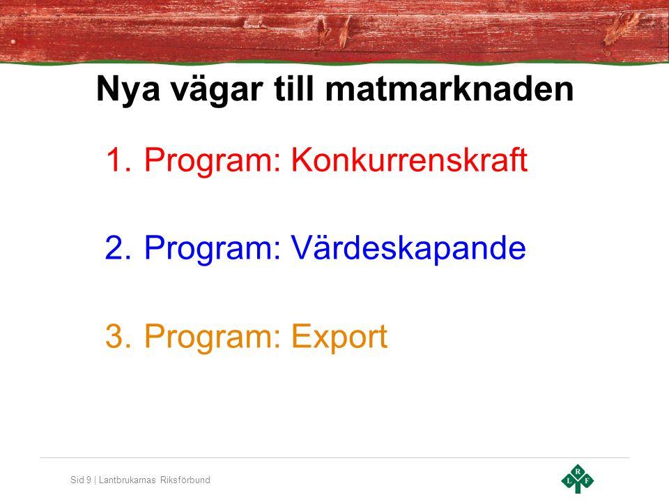 Sid 9 | Lantbrukarnas Riksförbund Nya vägar till matmarknaden 1.Program: Konkurrenskraft 2.Program: Värdeskapande 3.Program: Export