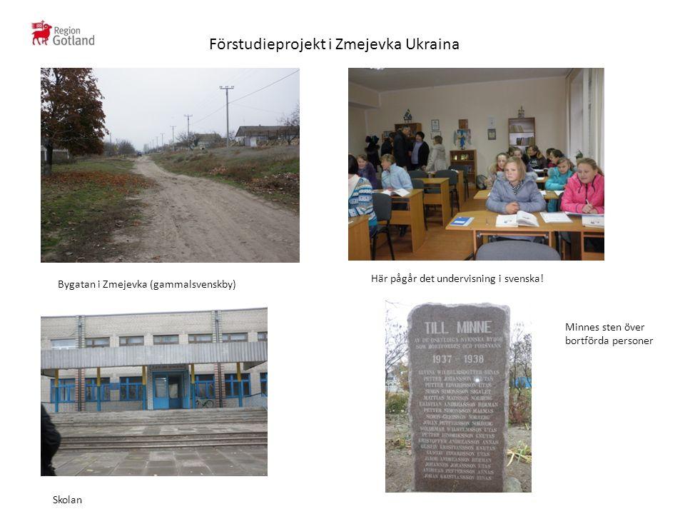 Förstudieprojekt i Zmejevka Ukraina Bygatan i Zmejevka (gammalsvenskby) Skolan Här pågår det undervisning i svenska.