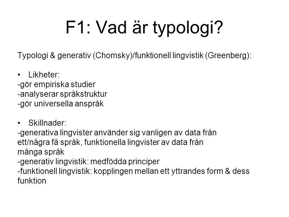 F1: Vad är typologi.