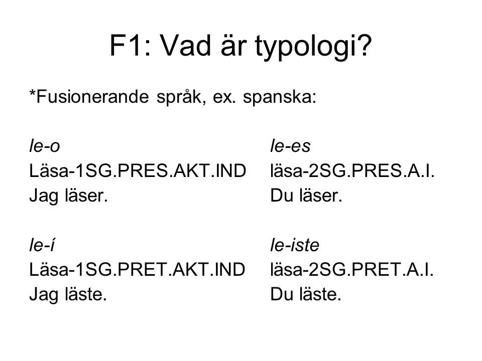 F1: Vad är typologi.*Fusionerande språk, ex.