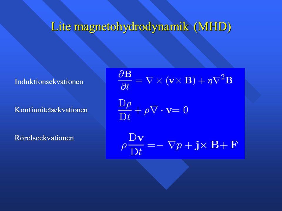 Lite magnetohydrodynamik (MHD) Induktionsekvationen Kontinuitetsekvationen Rörelseekvationen