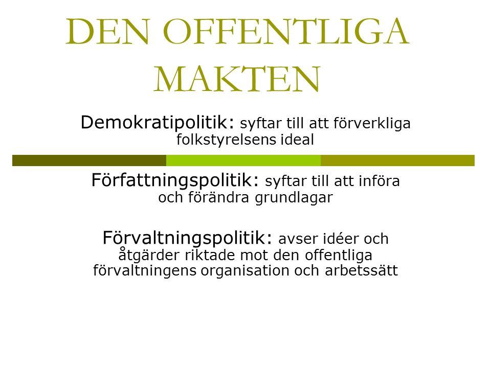 DEN OFFENTLIGA MAKTEN Demokratipolitik: syftar till att förverkliga folkstyrelsens ideal Författningspolitik: syftar till att införa och förändra grun