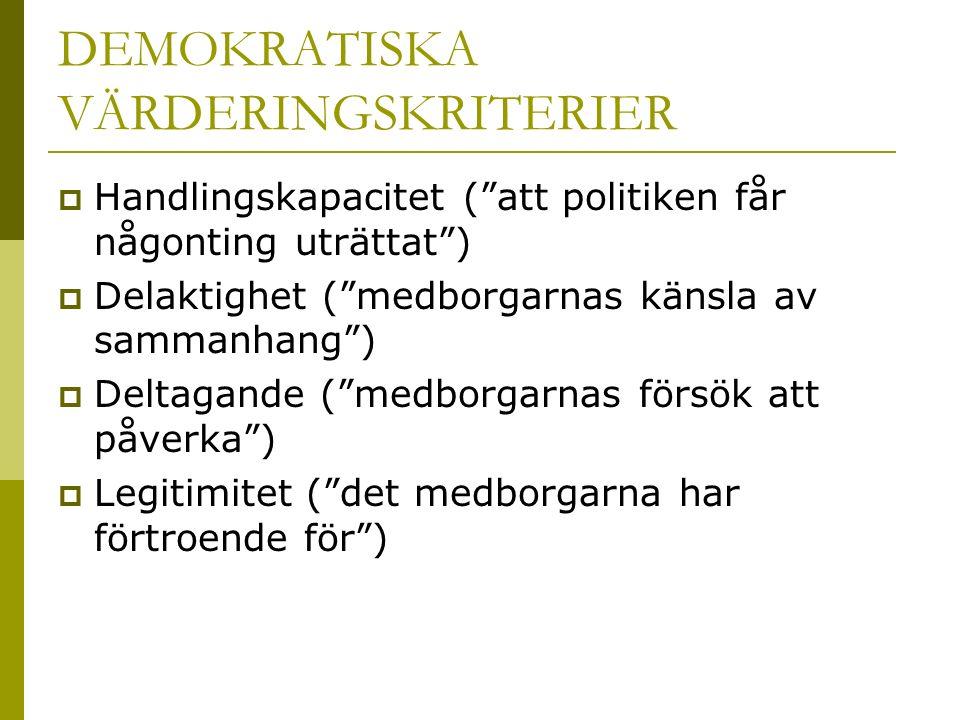 """DEMOKRATISKA VÄRDERINGSKRITERIER  Handlingskapacitet (""""att politiken får någonting uträttat"""")  Delaktighet (""""medborgarnas känsla av sammanhang"""")  D"""