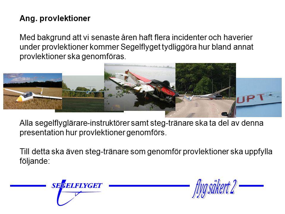 Ang. provlektioner Med bakgrund att vi senaste åren haft flera incidenter och haverier under provlektioner kommer Segelflyget tydliggöra hur bland ann