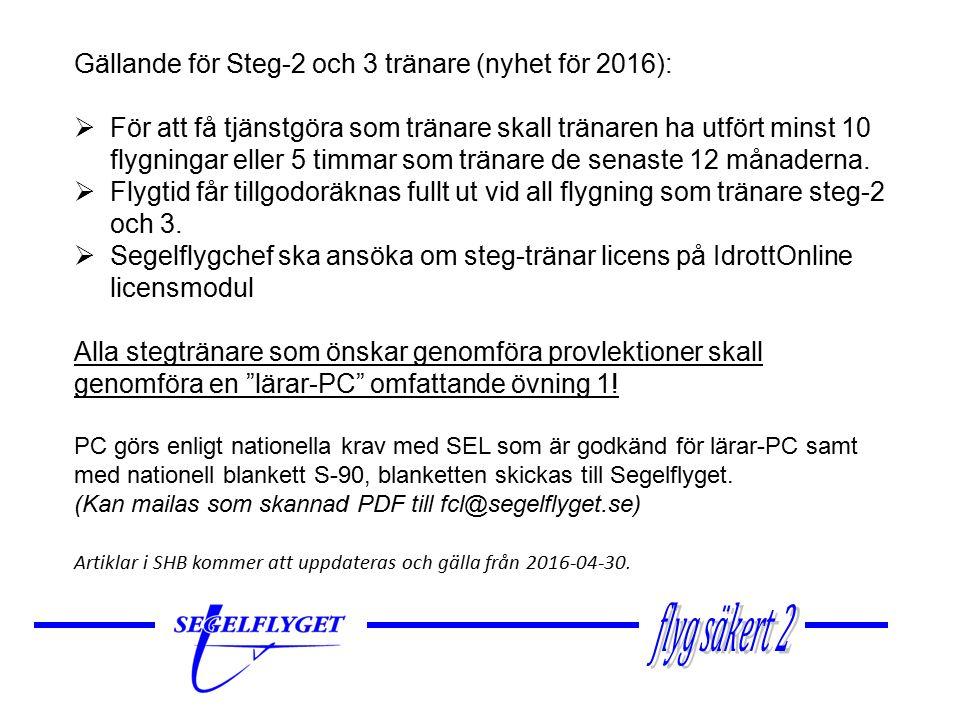 Utbildningsplan för Steg 2-tränare – utökas Praktisk utbildning:Utbildningen skall genomföras i DK med godkänd segelflyglärare efter nedanstående utbildningsplan.