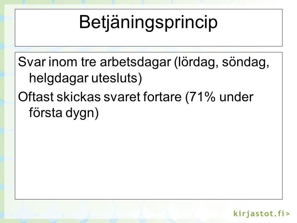 Betjäningsprincip Svar inom tre arbetsdagar (lördag, söndag, helgdagar utesluts) Oftast skickas svaret fortare (71% under första dygn)