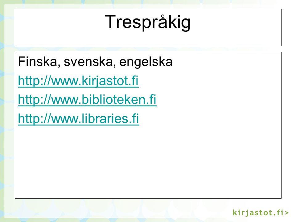 Om digital referenstjänst Biblioteken.fi, Biblioteksbranschen, Digital referenstjänst http://www.biblioteken.fi/biblioteksbransch en/digital_referenstjanst/ http://www.biblioteken.fi/biblioteksbransch en/digital_referenstjanst/ Kirjastot.fi, Kirjastoala, Verkkotietopalvelu http://www.kirjastot.fi/kirjastoala/verkkotiet opalvelu/ http://www.kirjastot.fi/kirjastoala/verkkotiet opalvelu/