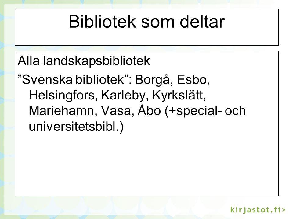 Bibliotek som deltar Alla landskapsbibliotek Svenska bibliotek : Borgå, Esbo, Helsingfors, Karleby, Kyrkslätt, Mariehamn, Vasa, Åbo (+special- och universitetsbibl.)