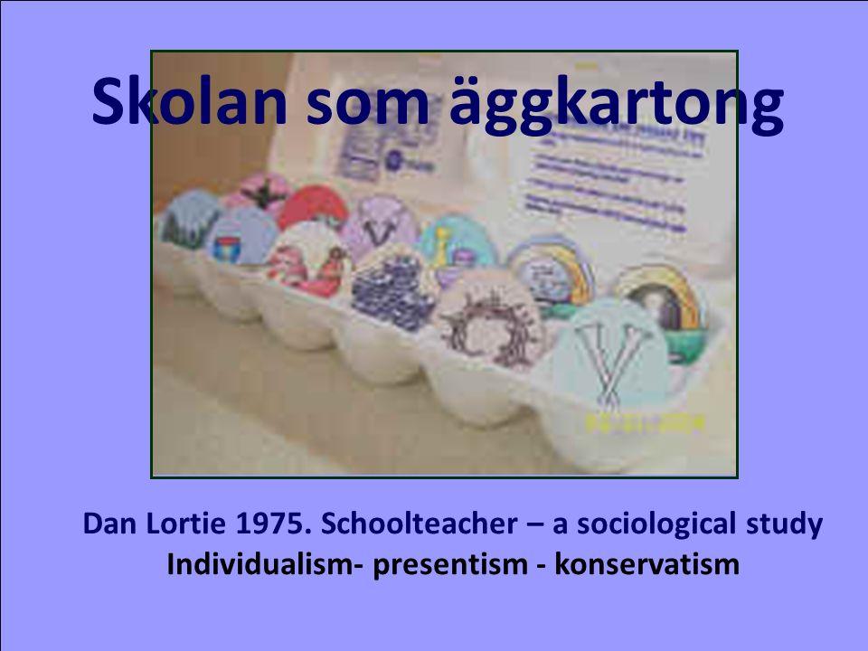 Skolan som äggkartong Dan Lortie 1975. Schoolteacher – a sociological study Individualism- presentism - konservatism