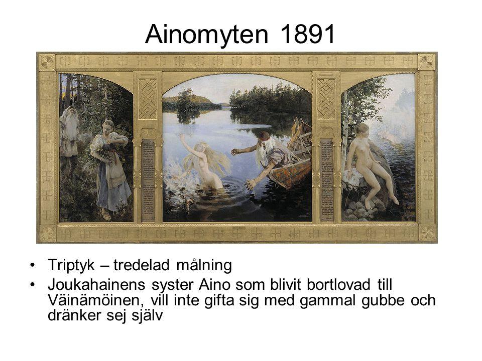 Ainomyten 1891 Triptyk – tredelad målning Joukahainens syster Aino som blivit bortlovad till Väinämöinen, vill inte gifta sig med gammal gubbe och dränker sej själv