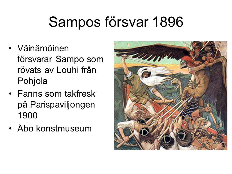 Sampos försvar 1896 Väinämöinen försvarar Sampo som rövats av Louhi från Pohjola Fanns som takfresk på Parispaviljongen 1900 Åbo konstmuseum