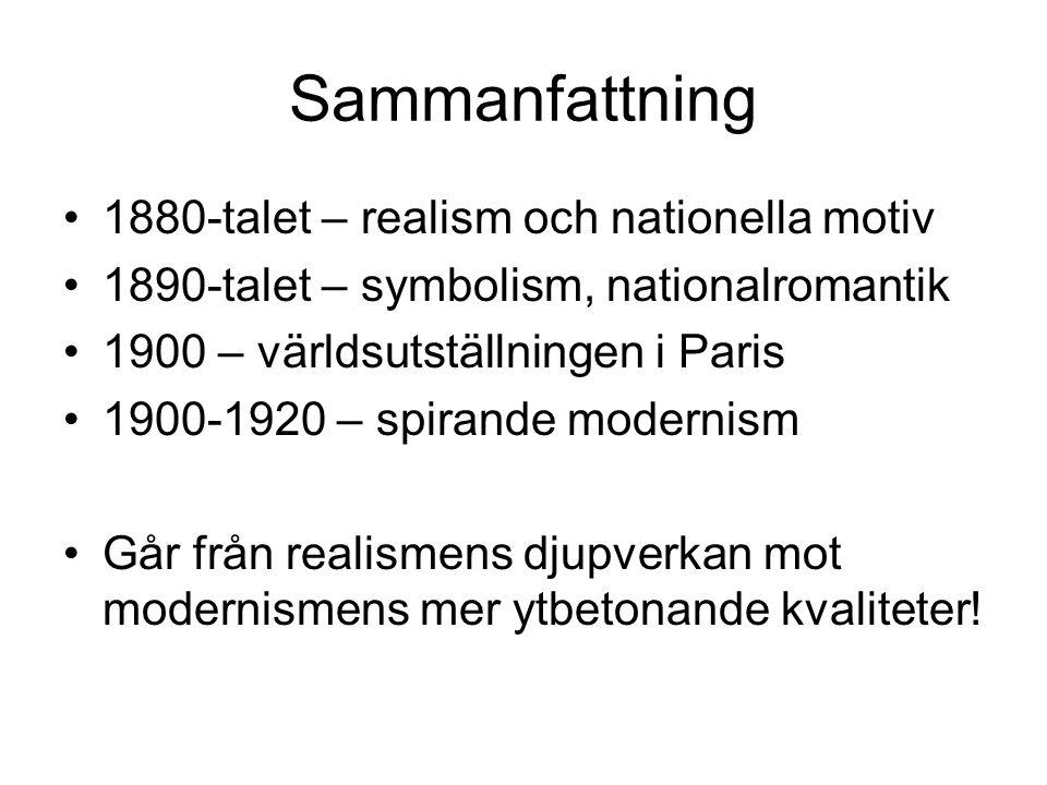 Sammanfattning 1880-talet – realism och nationella motiv 1890-talet – symbolism, nationalromantik 1900 – världsutställningen i Paris 1900-1920 – spira